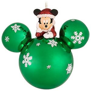 Disney Mickey Ears Icon Ornament - Santa Mickey Mouse - Green