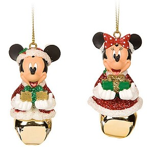 Disney Christmas Ornament Set - Santa Mickey and Minnie Mouse Jingle Bell