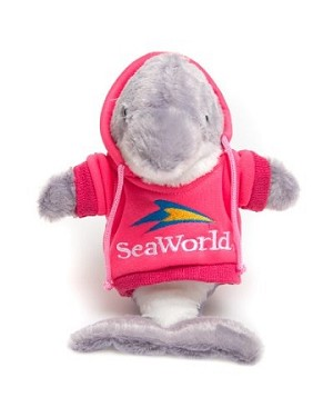 Sea World Plush - Dolphin Plush with Pink Hoodie