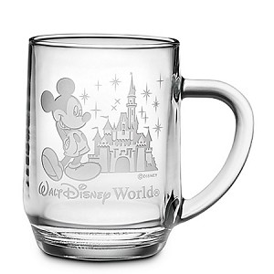 Disney Arribas Glass Mug - Mickey and Castle - Personalizable - Large