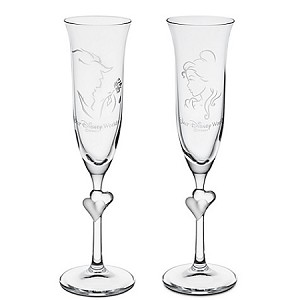 Disney Glass Flute Set - Personalizable Beauty and the Beast Glass by Arribas -- 2-Pc.