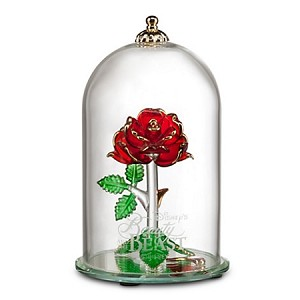 Disney Glass Sculpture - Beauty and the Beast Enchanted Rose - Large