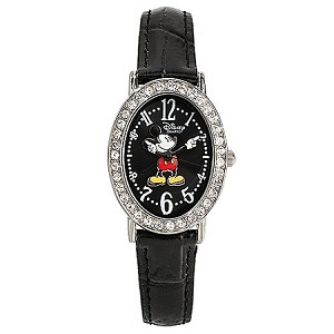 Disney Wrist Watch - Classic Black Crocodile Mickey Mouse for Adults