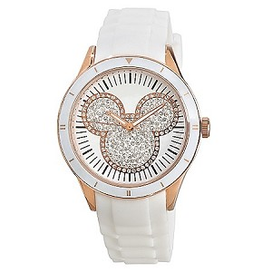 Disney Wrist Watch - Silicon Mickey Mouse Icon - White and Gold