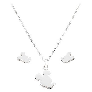 Disney Necklace and Earrings Set - Silver Silhouetted Mickey Mouse