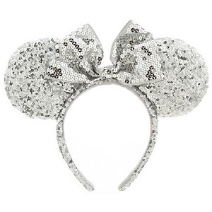 Disney Headband Hat - Minnie Mouse Ear Headband - Silver Sequins