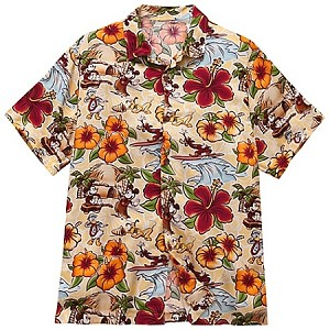 Disney Shirt for Men - Hawaiian Surf and Sand - Mickey Mouse - Yellow