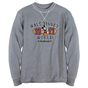 Disney Shirt for MEN - Mickey Mouse Long Sleeve 1971 Tee - Gray