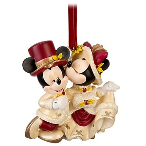 Disney Christmas Ornament - Victorian Minnie and Mickey Mouse - Kiss