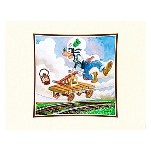 Disney Art Print - Goofy on a Handcar Deluxe Print on Paper