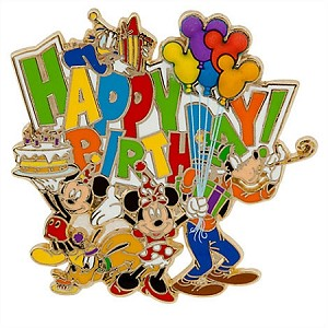 Disney Happy Birthday Pin - Mickey Mouse and Friends