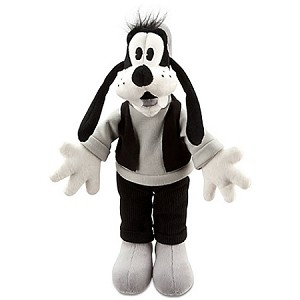 Disney Plush - Black and White Goofy Plush Toy-- 7'' H
