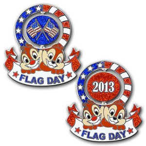 Disney Flag Day Pin - 2013 Chip n' Dale Spinner - Limited Edition
