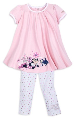Disney Top and Leggings Set for Girls - Minnie Mouse Bubble - Pink & White