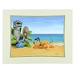 Disney Bolly Art Print - Suspicious Tiki - Pluto and Stitch