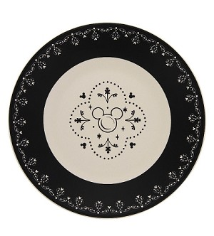 Disney Dessert Plate - Mickey Mouse Icons - Black and Cream