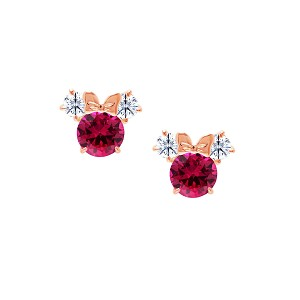 Disney Crislu Earrings - Minnie Mouse Birthstone - Rose Gold