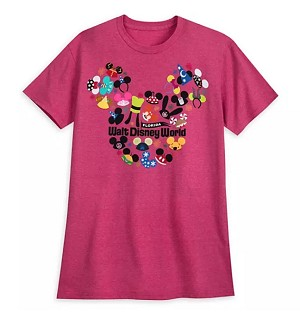 Disney Adult Shirt - Ear Hat Collage - Walt Disney World - Red