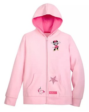Disney Zip Hoodie for Girls - Minnie Mouse Rainbow - Pink